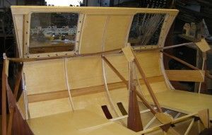 "inside view ... note clamped mid rib through ""toe"" window"